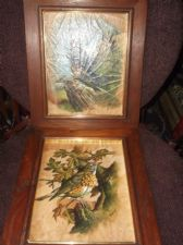 FRAMED PAIR SUPERB OIL PAINTINGS ON LEAVES KESTREL & MISTLE THRUSH SIGNED TAYAN